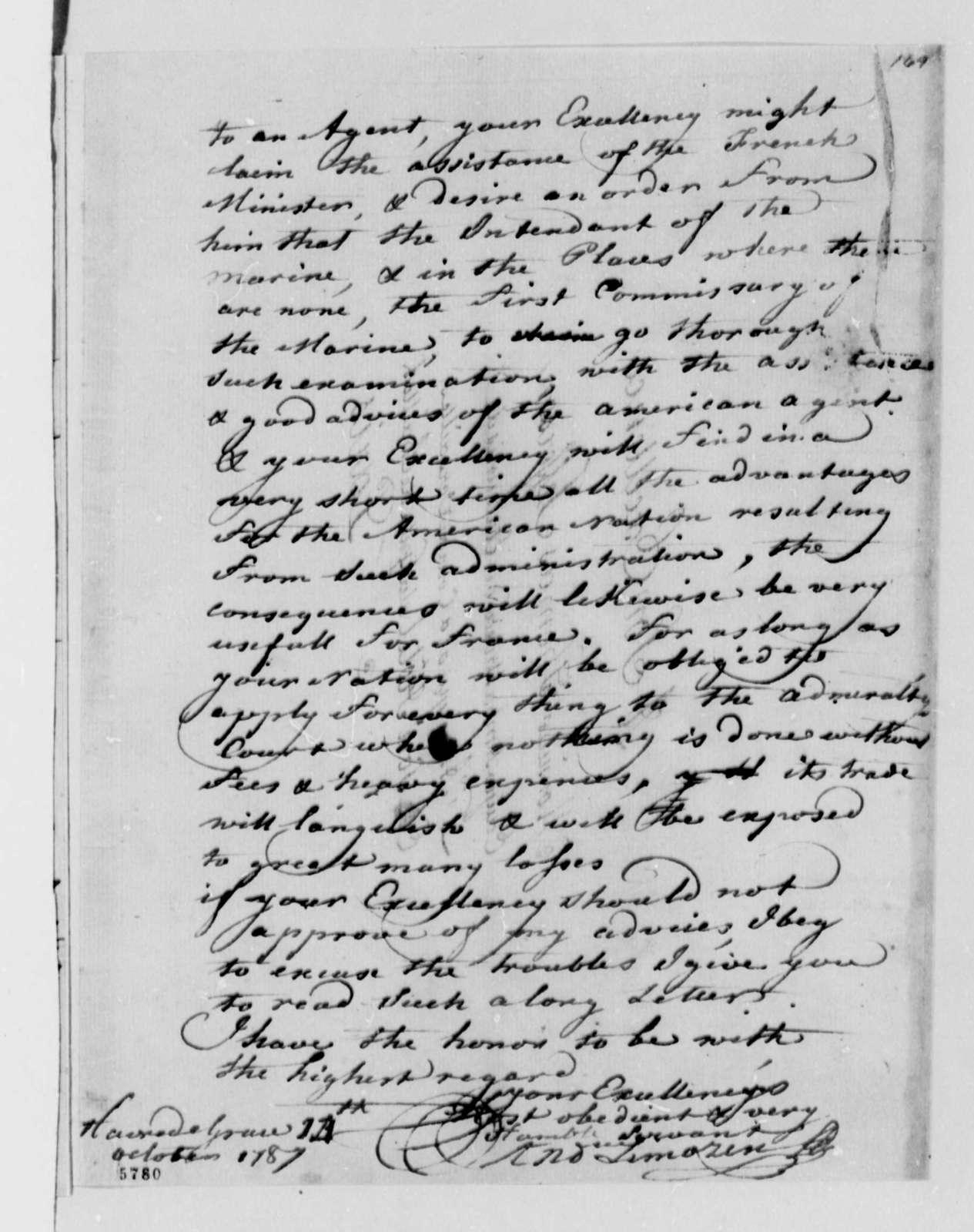 Andre Limozin to Thomas Jefferson, October 14, 1787
