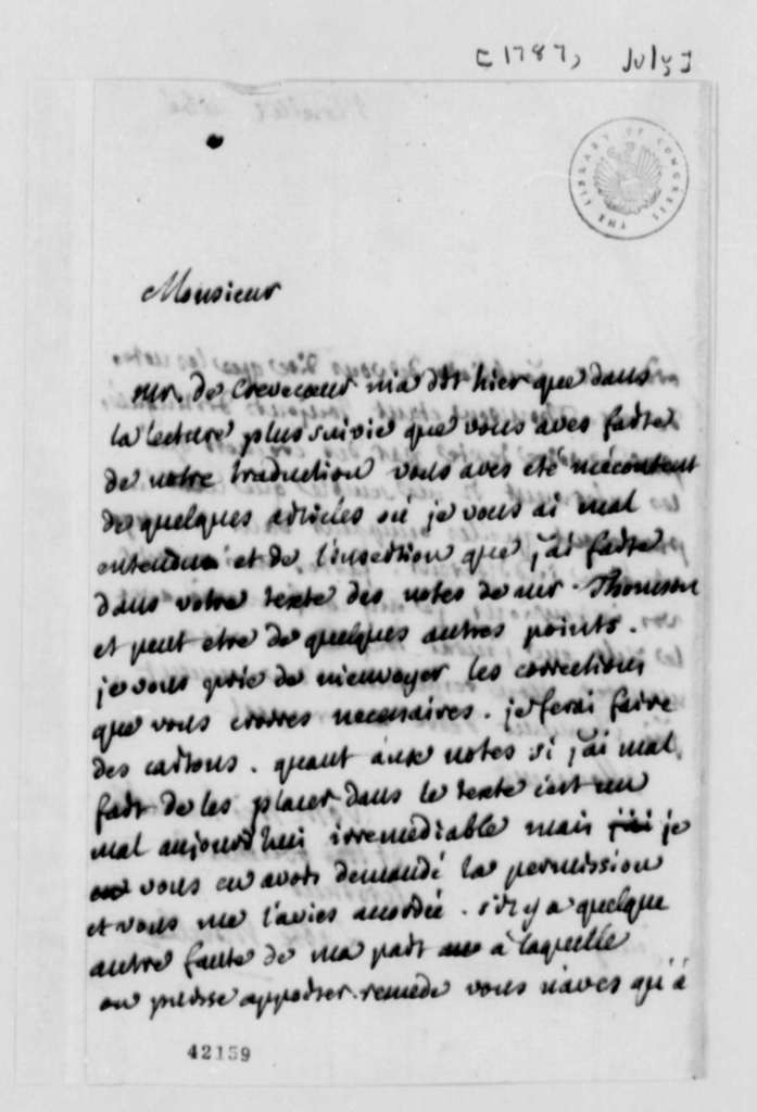 Andre Morellet to Thomas Jefferson, July 1787, in French