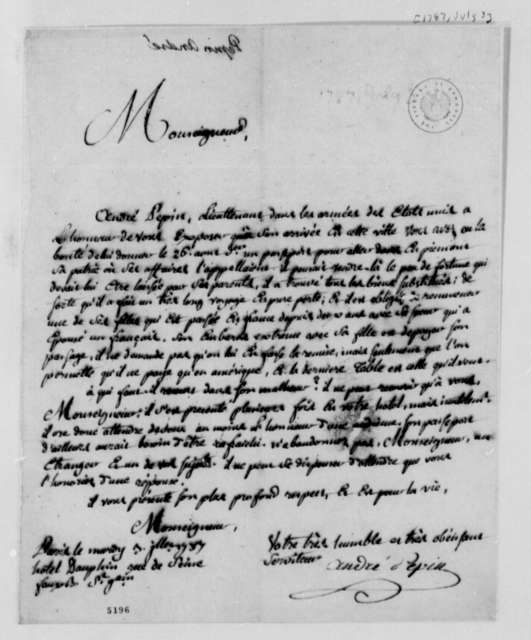 Andre Pepin to Thomas Jefferson, July 3, 1787, in French