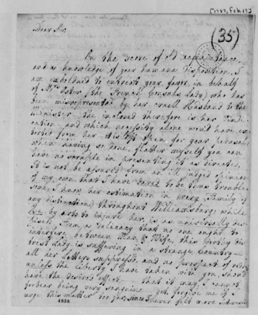 Anne Blair Banister to Thomas Jefferson, February 19, 1787