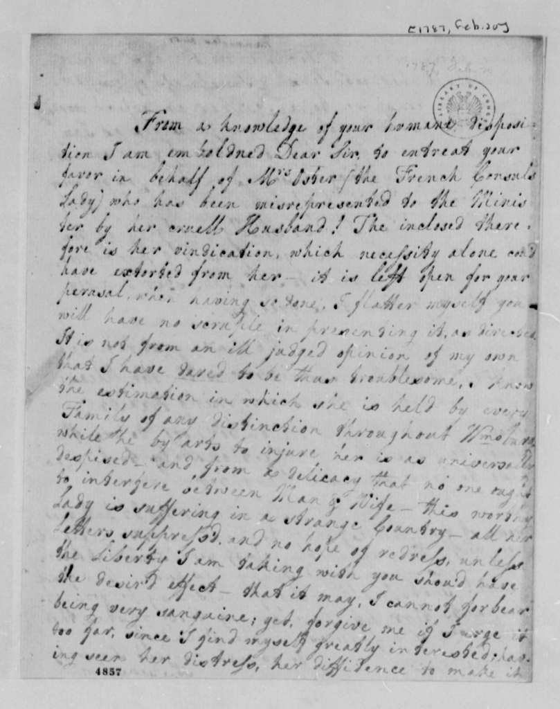Anne Blair Banister to Thomas Jefferson, February 20, 1787