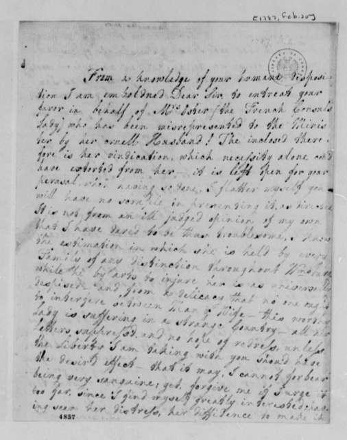 Anne Blair Banister to Thomas Jefferson, February 20, 1787