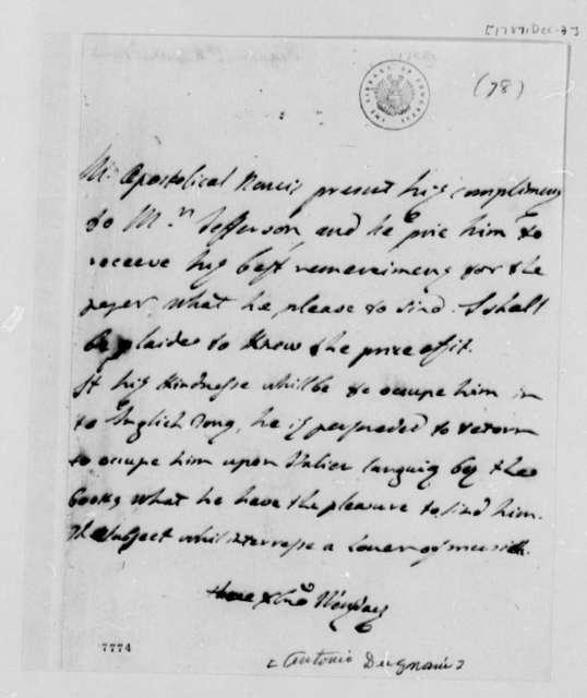 Antonio Dugnani to Thomas Jefferson, December 3, 1787