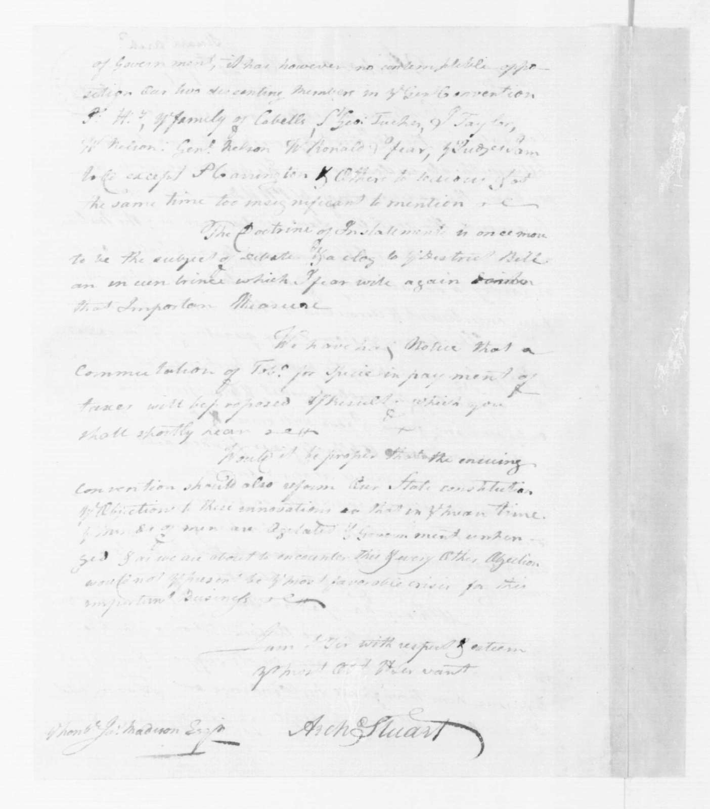Archibald Stuart to James Madison, October 21, 1787.