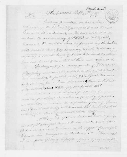 Archibald Stuart to James Madison, October 21, 1787.