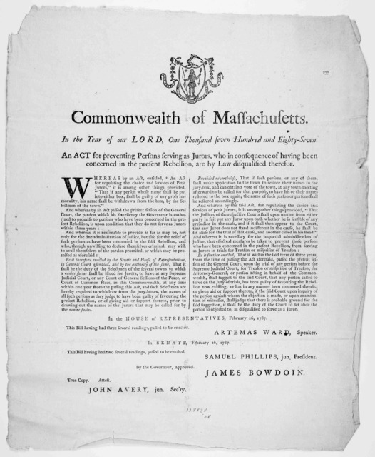[Arms] Commonwealth of Massachusetts. In the year of our Lord, one thousand seven hundred and eighty-seven. An act for preventing persons serving as jurors, who in consequence of having been concerned in the present rebellion, are by law disqual