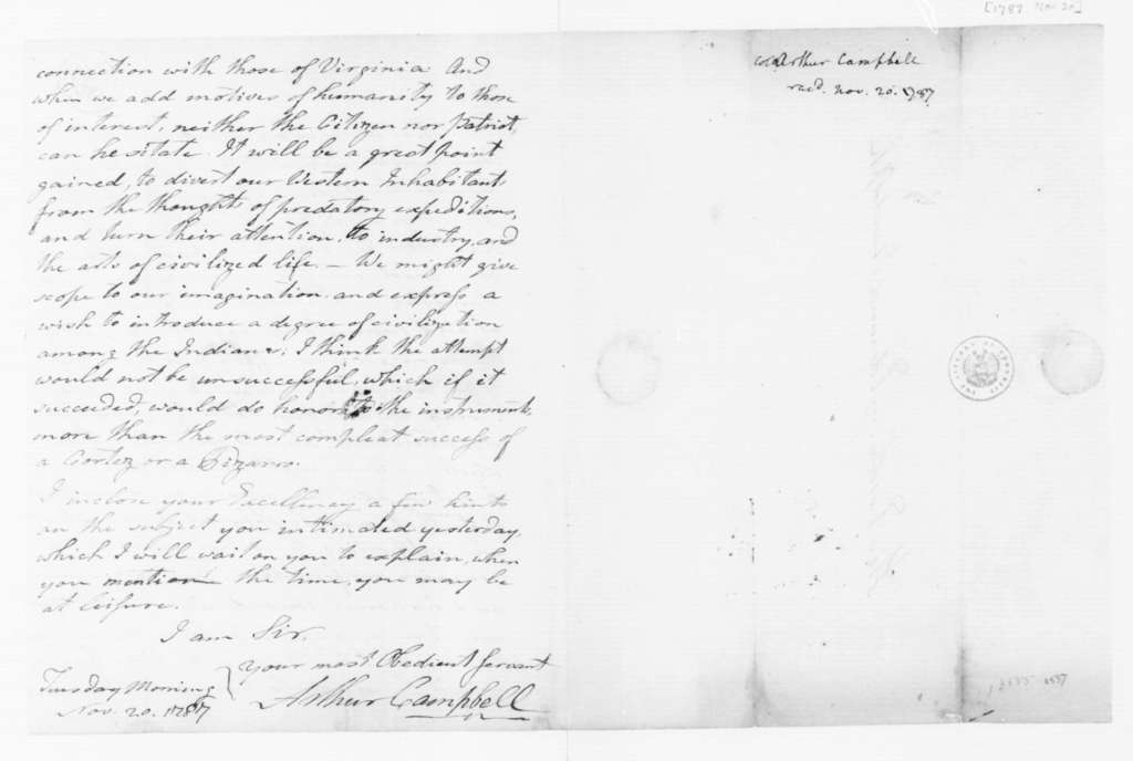 Arthur Campbell to Edmund Randolph, November 20, 1787.