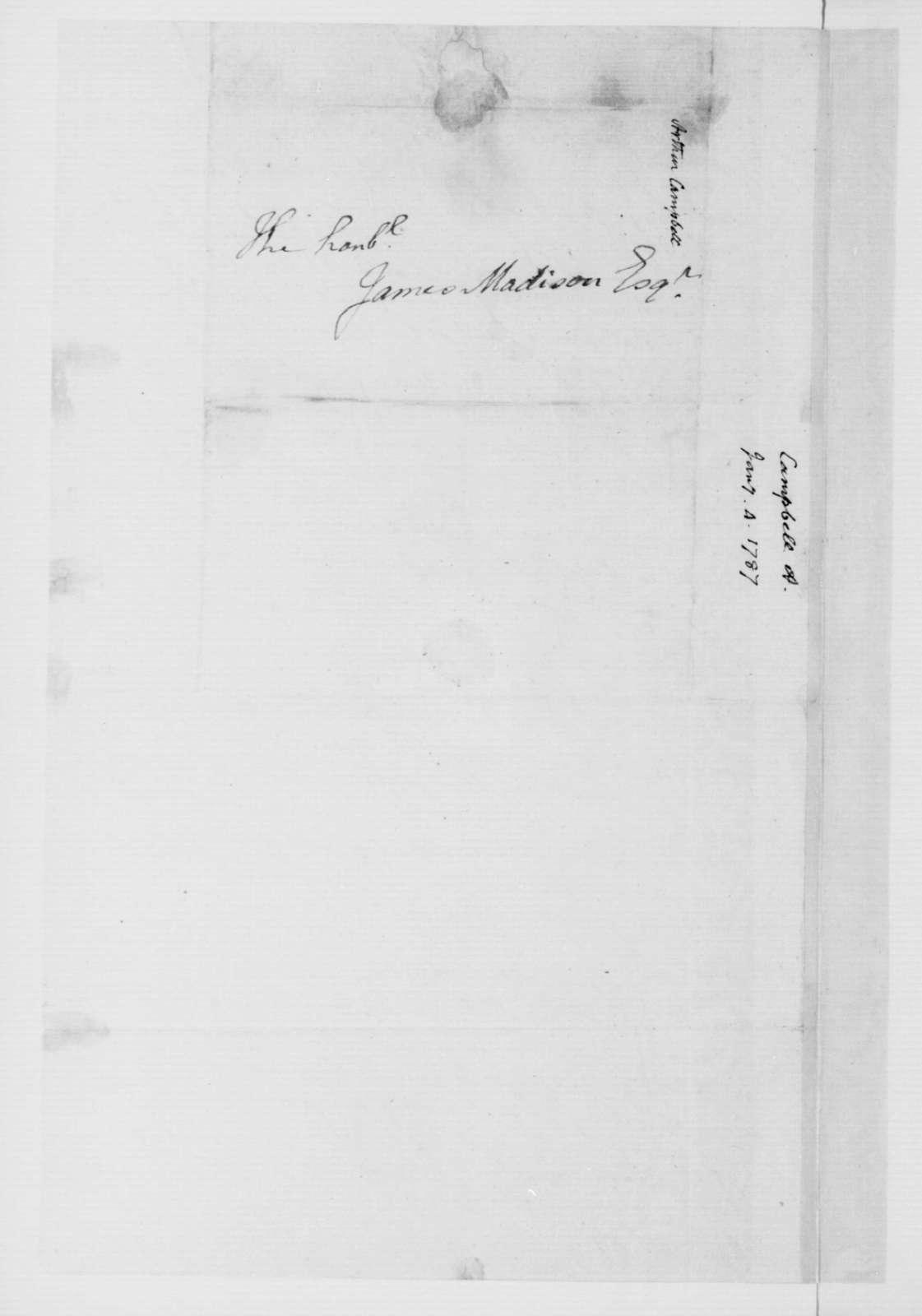 Arthur Campbell to James Madison, January 4, 1787.