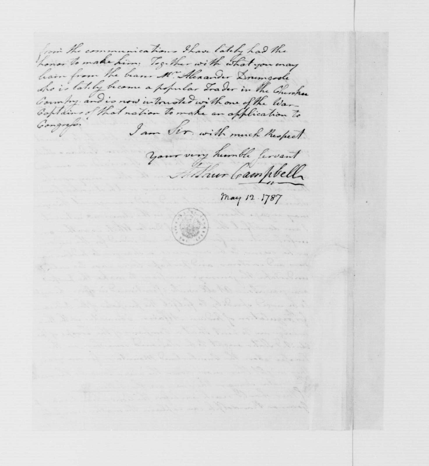 Arthur Campbell to James Madison, May 12, 1787.