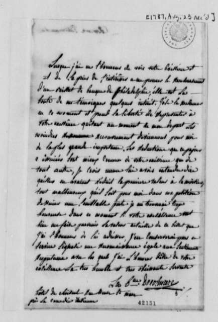 Baroness de Colmare to Thomas Jefferson, August 23, 1787, in French