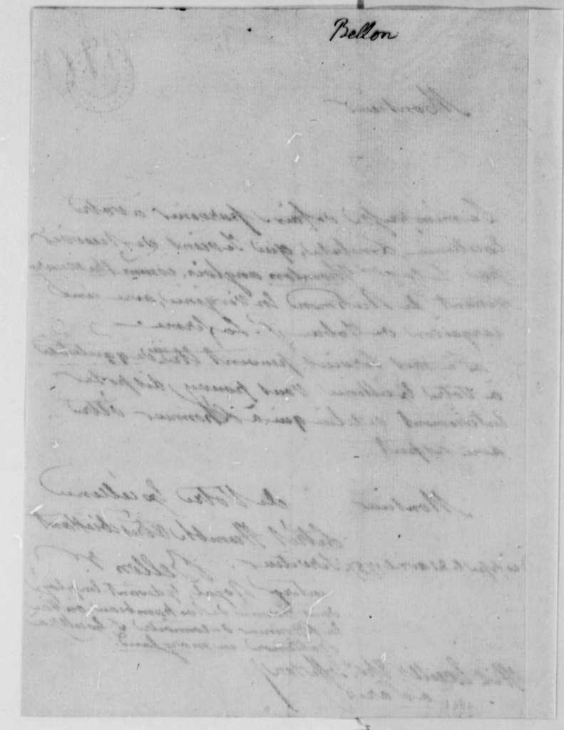 Bellon to Thomas Jefferson, April 21, 1787, in French