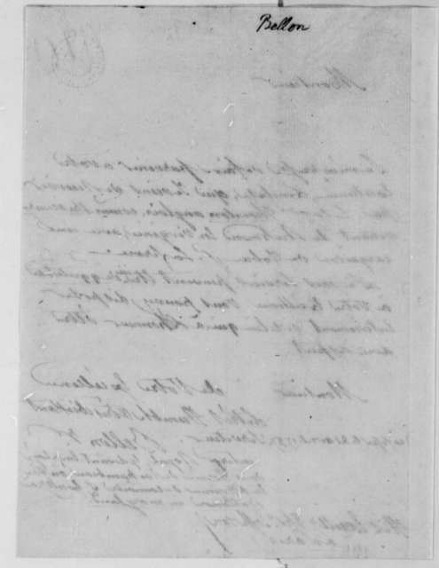 Bellon to Thomas Jefferson, April 21, 1787, in French