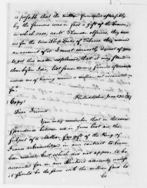 Benjamin Franklin to Charles Thomson, January 25, 1787