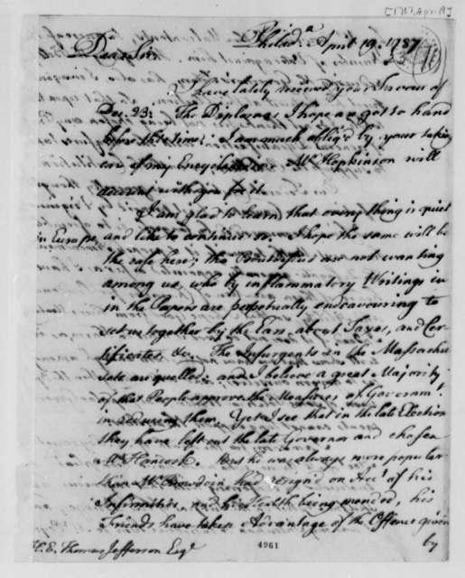 Benjamin Franklin to Thomas Jefferson, April 19, 1787