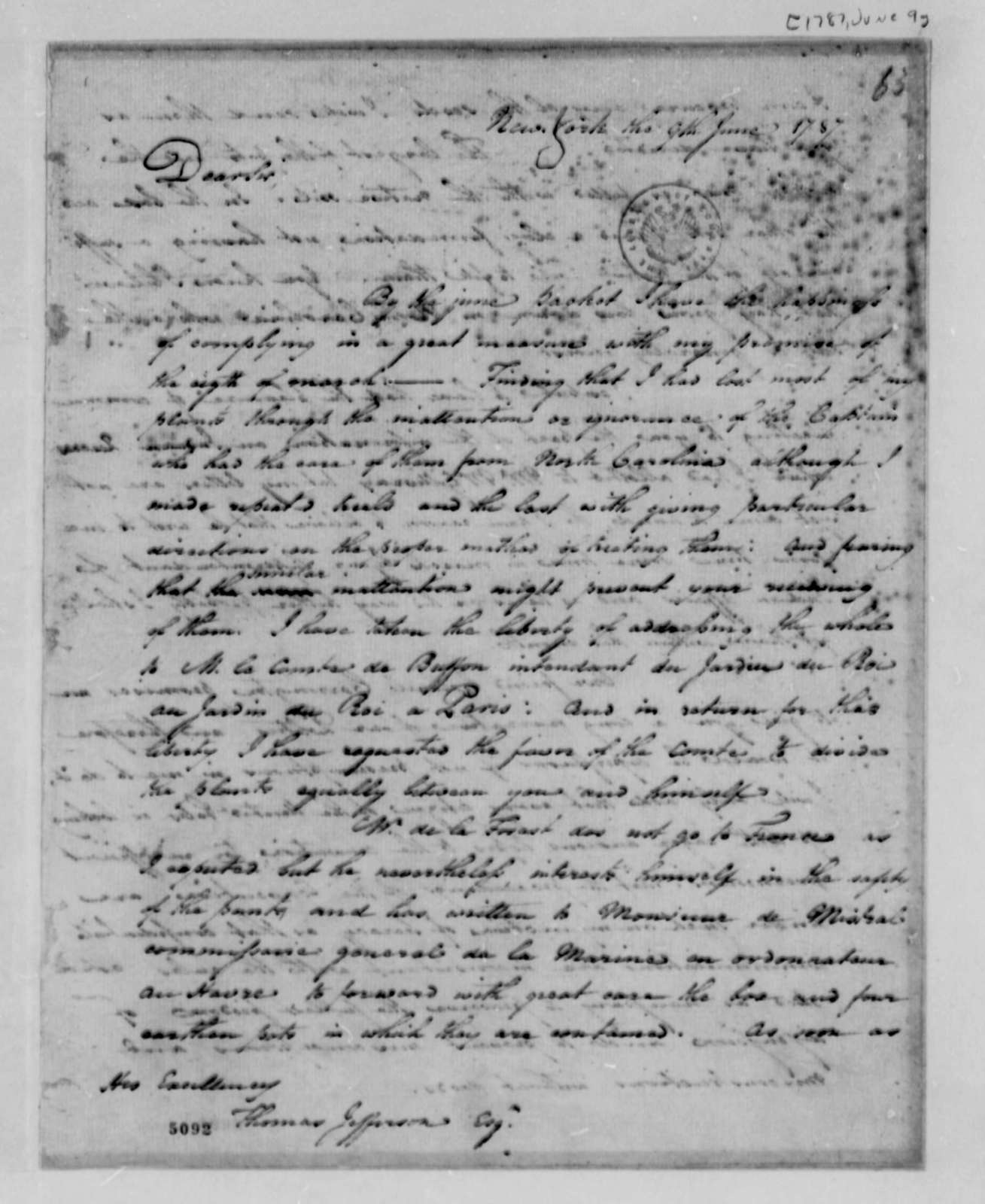 Benjamin Hawkins to Thomas Jefferson, June 9, 1787