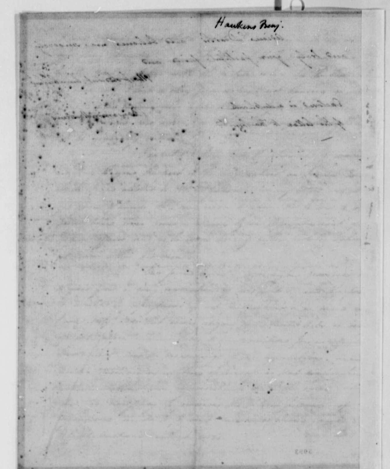 Benjamin Hawkins to Thomas Jefferson, June 9, 1787