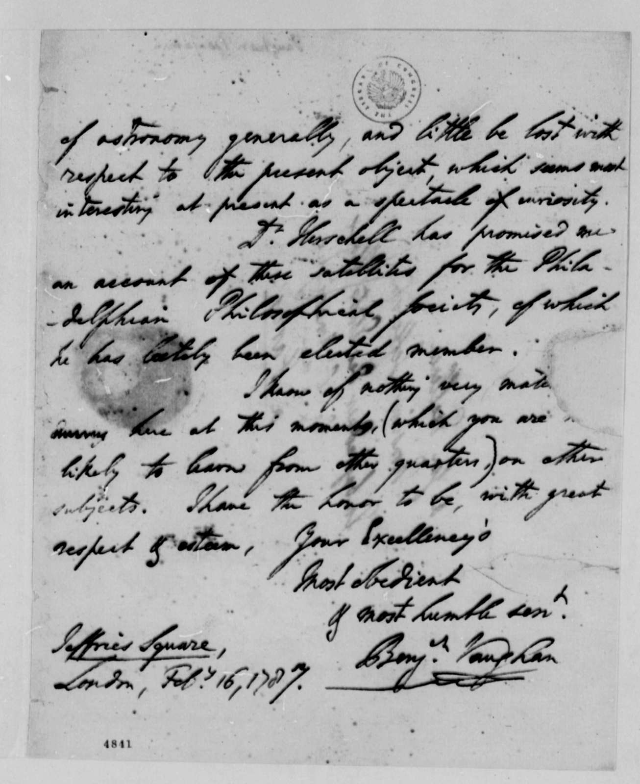 Benjamin Vaughan to Thomas Jefferson, February 16, 1787