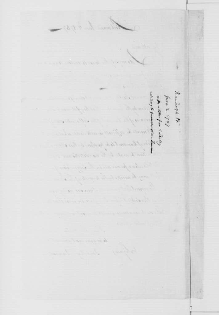 Beverley Randolph to Virginia Congressional Delegates, June 2, 1787.