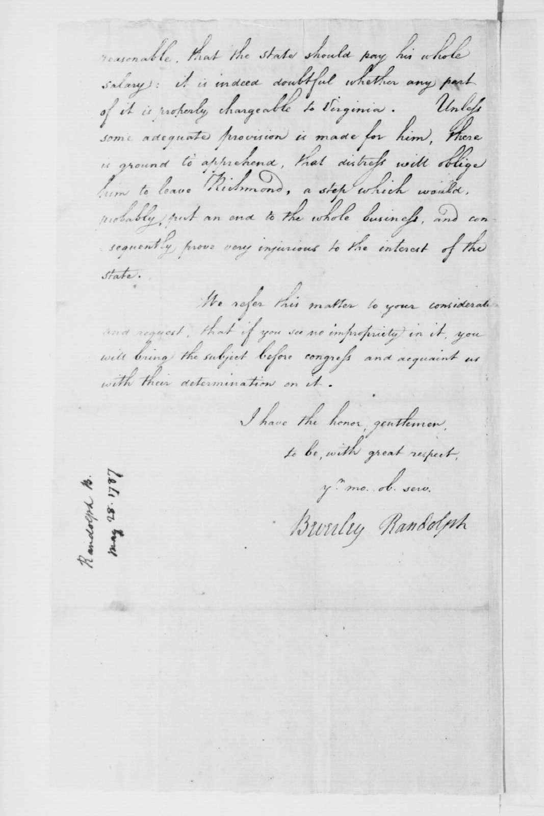 Beverley Randolph to Virginia Congressional Delegates, May 28, 1787.