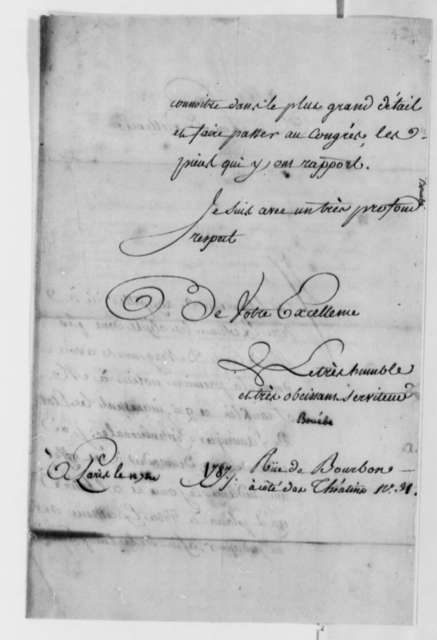 Bouebe to Thomas Jefferson, September 12, 1787, in French