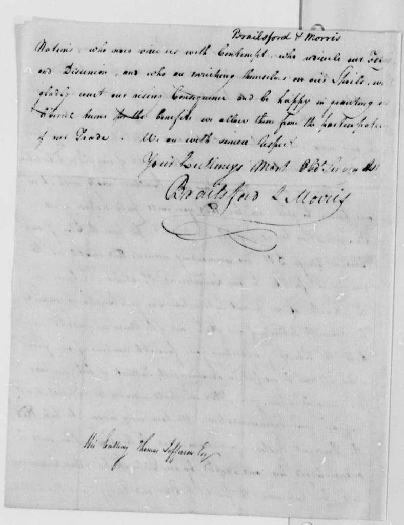 Brailsford & Morris to Thomas Jefferson, October 31, 1787