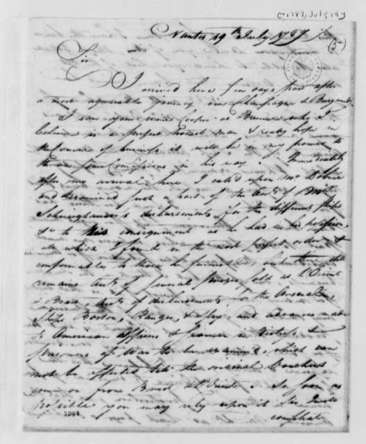 Burrill Carnes to Thomas Jefferson, July 19, 1787, with Printed Circular Letter Promoting Nantes, France, as a Trading Center