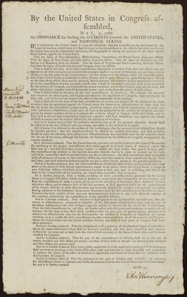 By the United States in Congress assembled, May 7, 1787 : An ordinance for settling the accounts between the United States, and individual states.