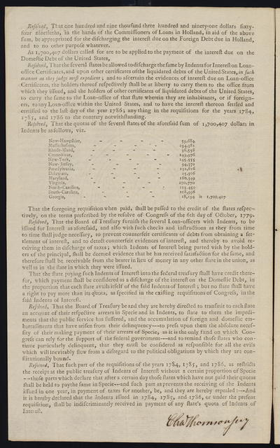 By the United States in Congress assembled. October 11, 1787 : The committee to whom was referred a report of the Board of Treasury and a motion of Mr. Kean, respecting the requisition for 1787, having reported ...