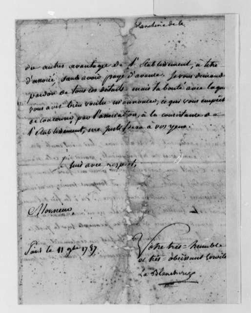 C. P. C. la Blancherie to Thomas Jefferson, November 11, 1787, in French