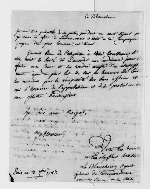 C. P. C. la Blancherie to Thomas Jefferson, November 3, 1787, in French