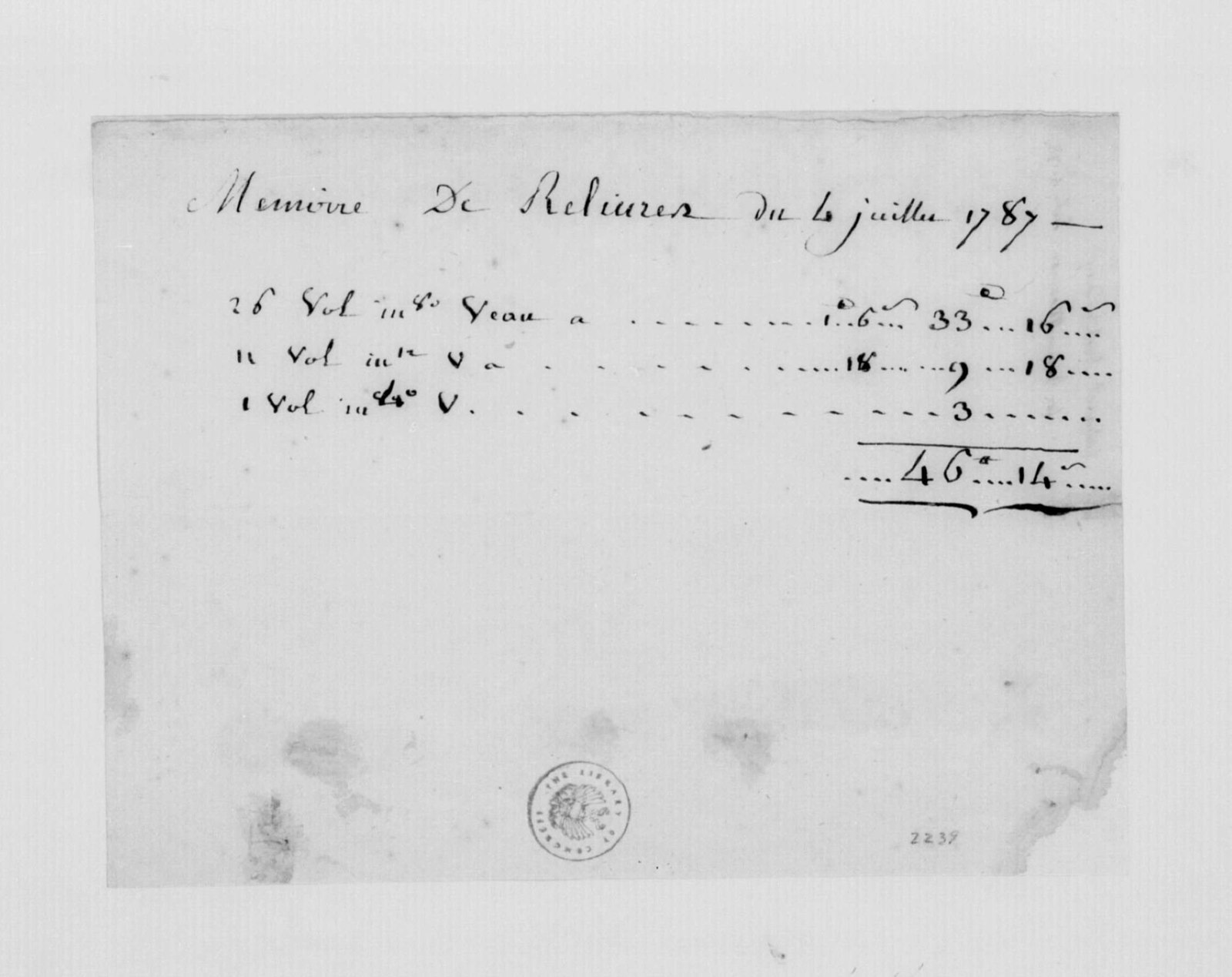 Cabaret, July 4, 1787. Bill for Bookbinding for James Madison.