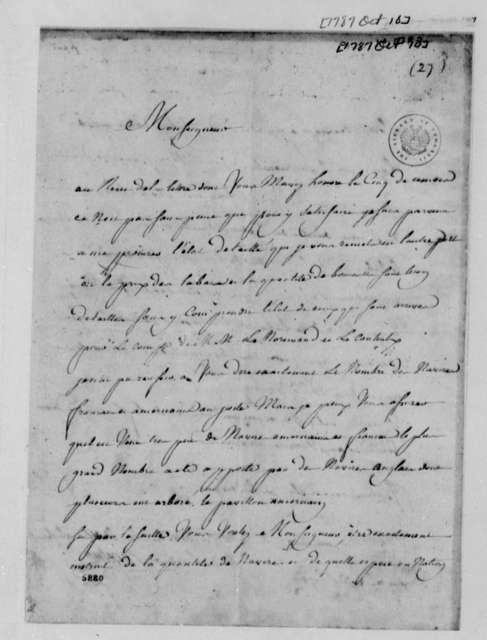 Cavelier to Thomas Jefferson, October 10, 1787, with List of Tobacco Shipments