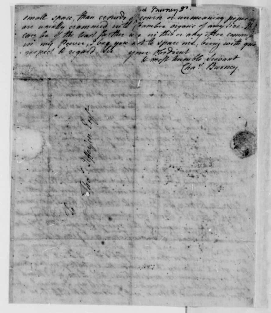 Charles Burney to Thomas Jefferson, January 20, 1787