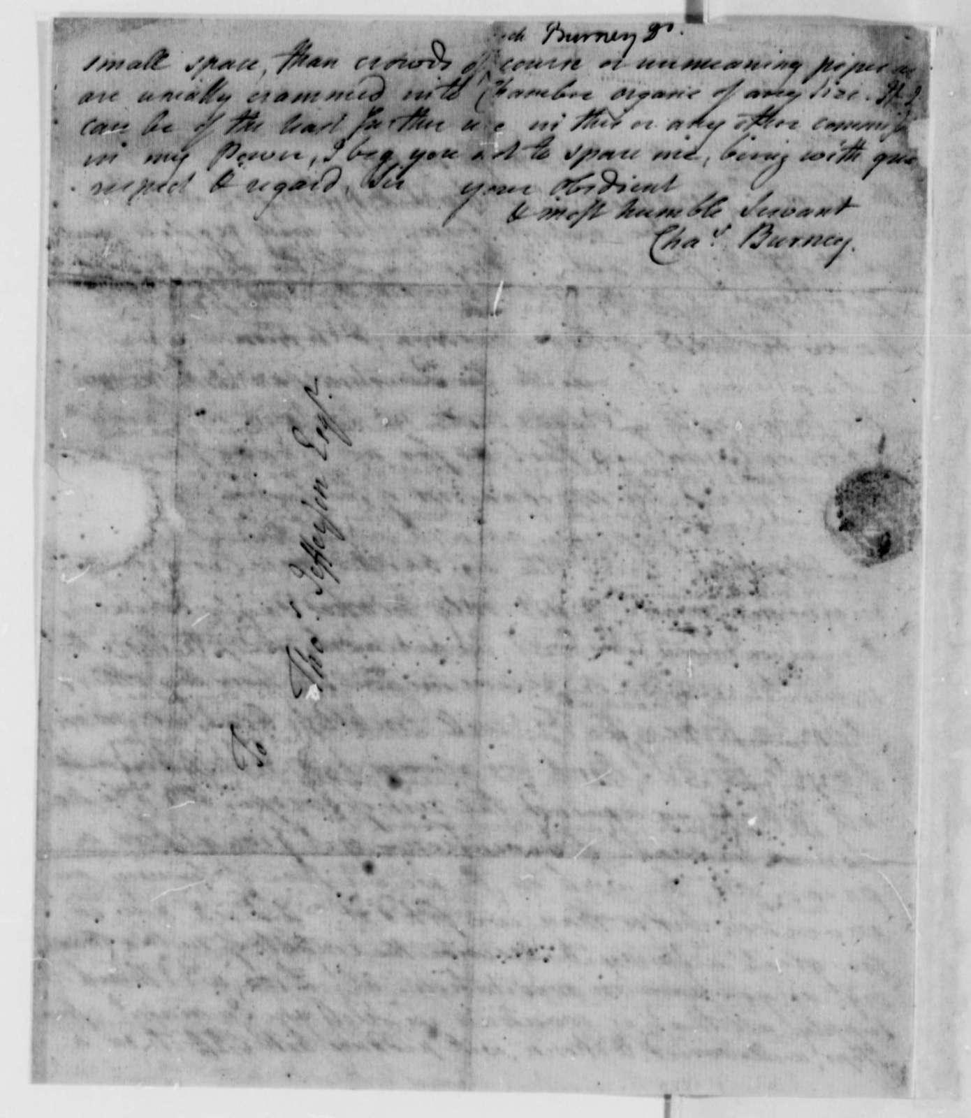 Charles Burney to Thomas Jefferson, January 20, 1787