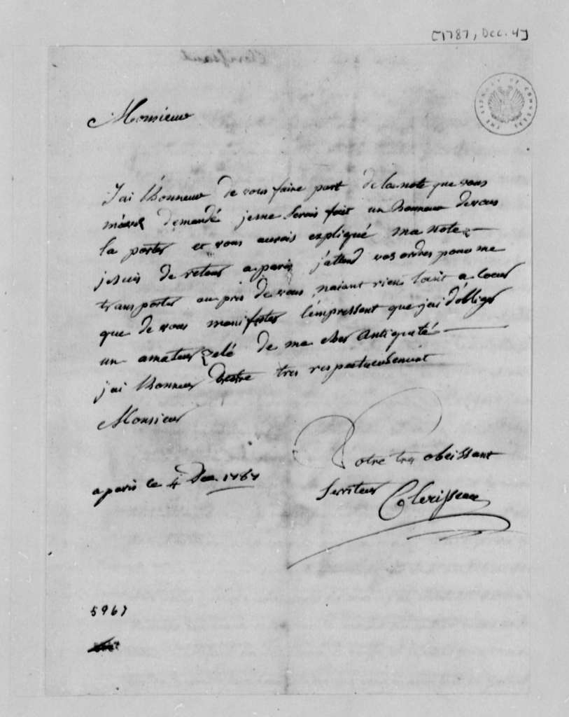 Charles Clerisseau to Thomas Jefferson, December 4, 1787, in French