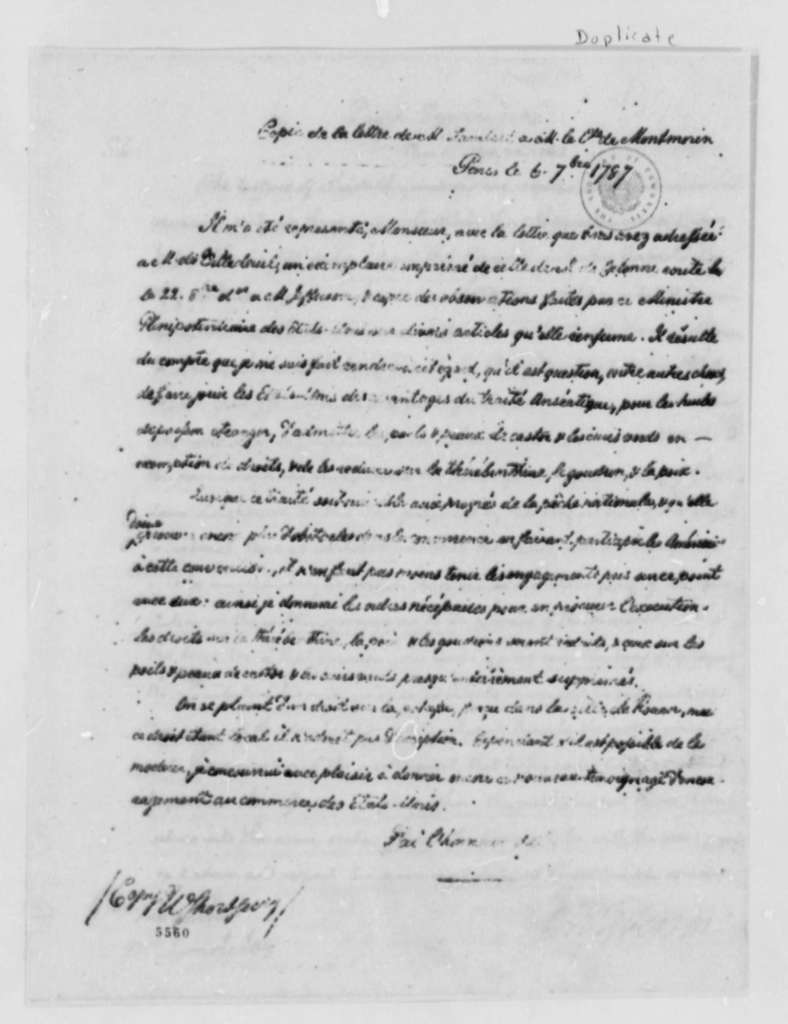 Charles G. Lambert to Armand-Marc, Comte de Montmorin-Saint-Herem, September 6, 1787, in French; with Two Copies