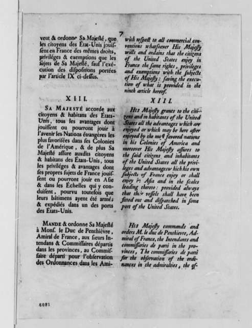 Charles G. Lambert to Thomas Jefferson, December 29, 1787, with Printed Act of French Council of State Encouraging Commerce Between France and the United States; in French and English