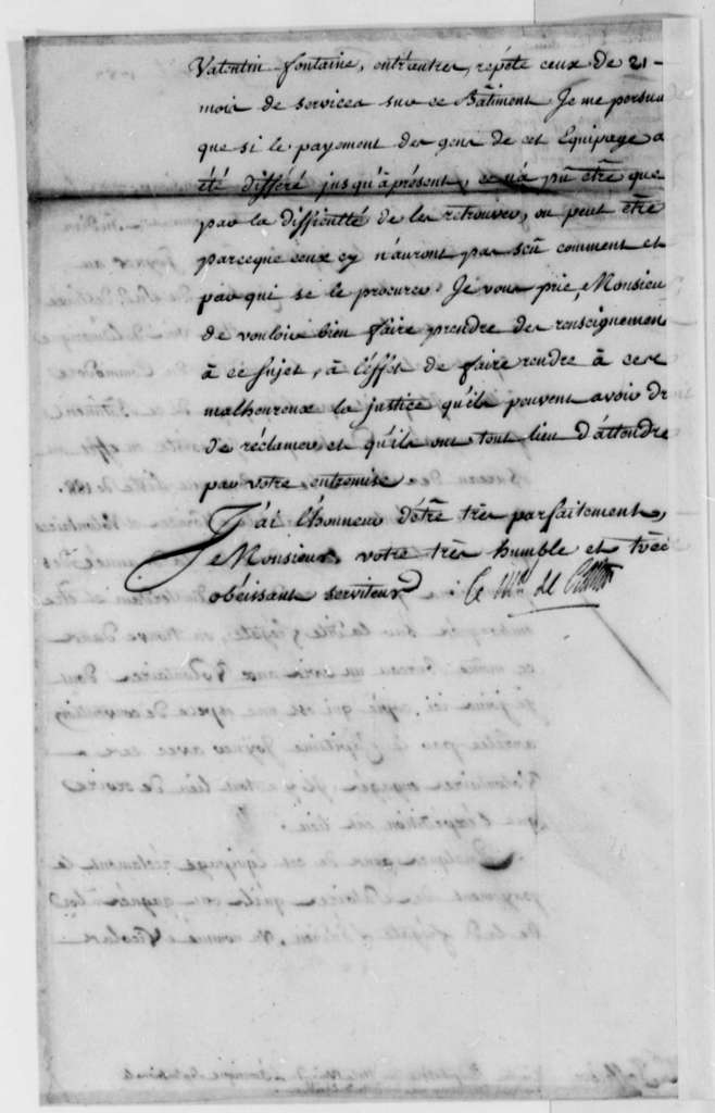 Charles, Marquis de Castries to Thomas Jefferson, April 19, 1787, L'Indien (ship) and Claims Against South Carolina; in French