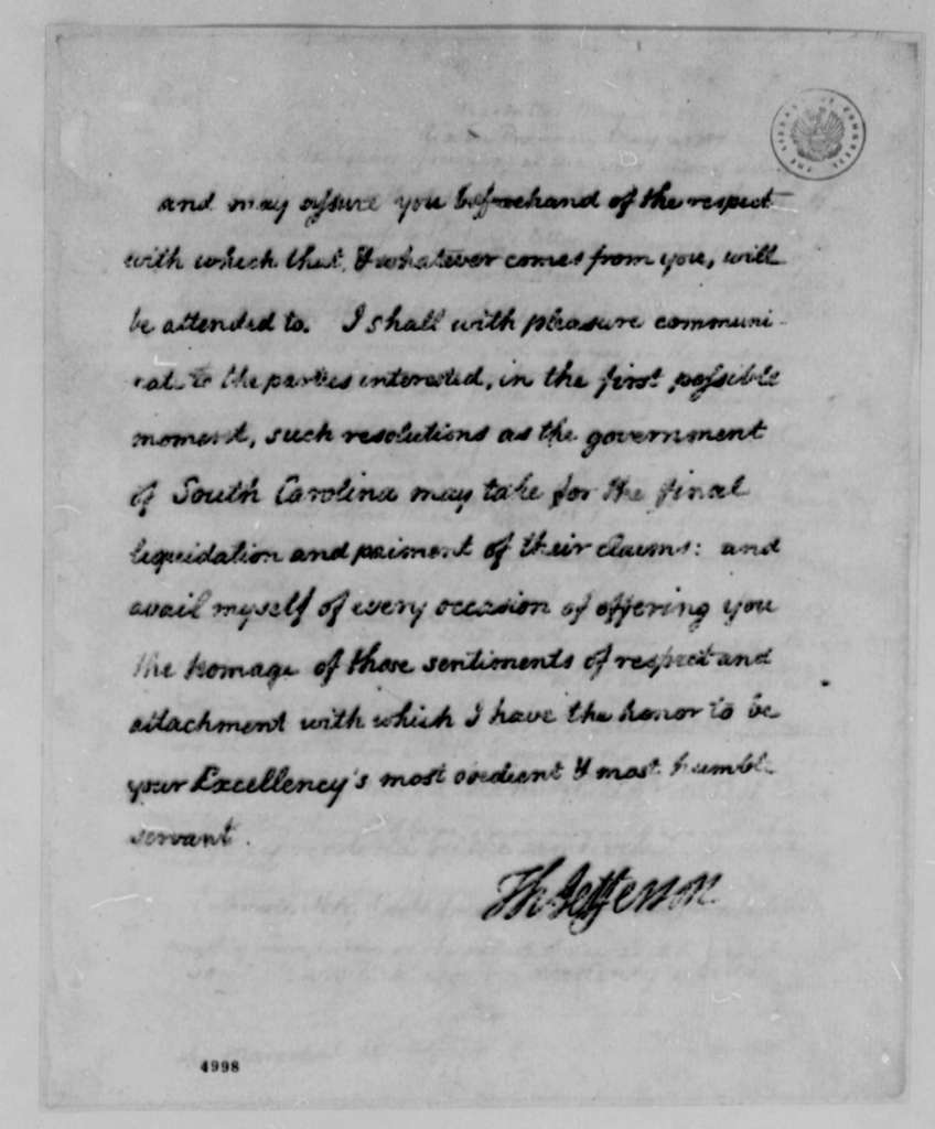 Charles, Marquis de Castries to Thomas Jefferson, May 3, 1787