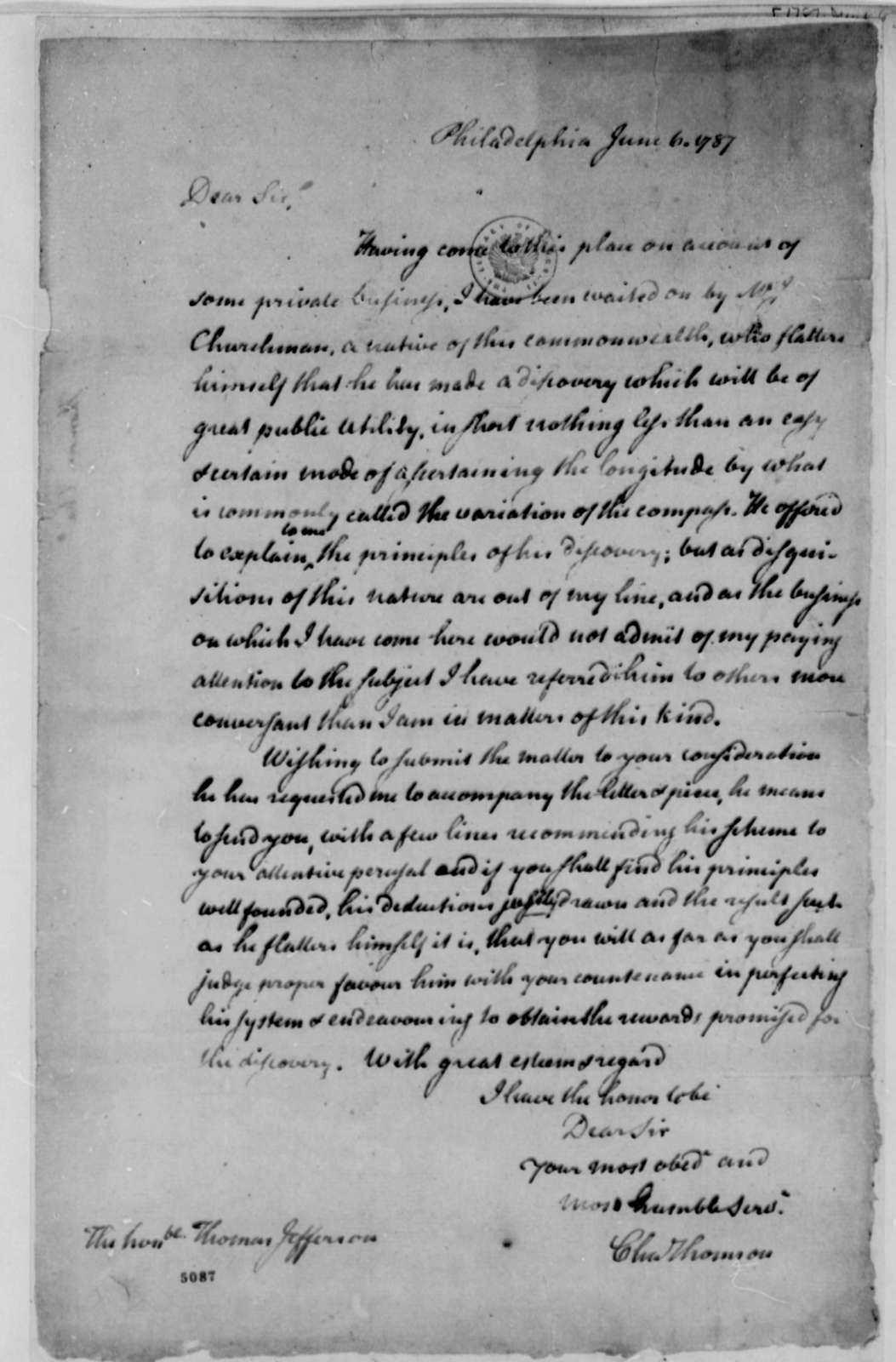 Charles Thomson to Thomas Jefferson, June 6, 1787