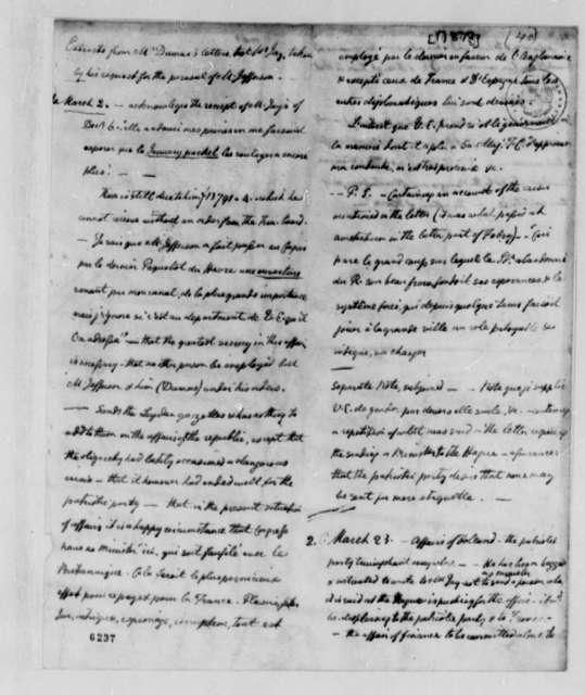 "Charles William Frederic Dumas to John Jay, March 1787, Extracts ""taken for the perusal of Mr. Jefferson"""