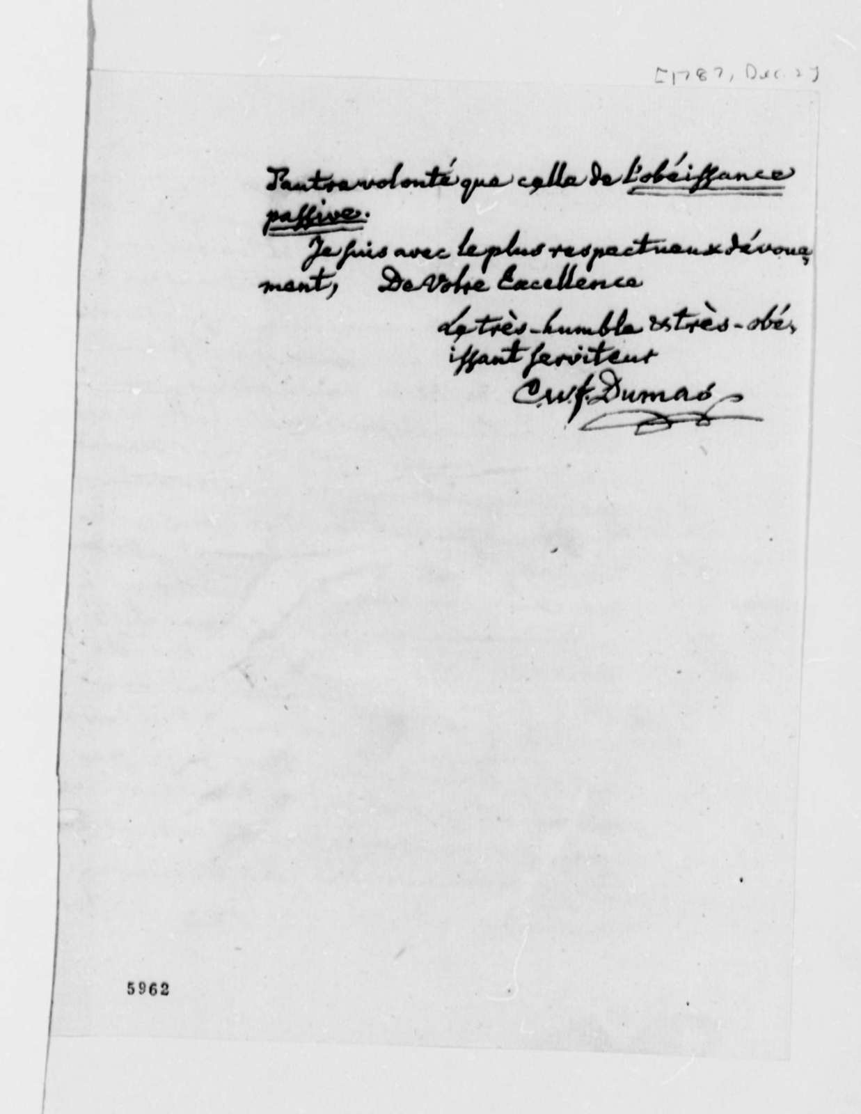 Charles William Frederic Dumas to Thomas Jefferson, December 2, 1787, in French