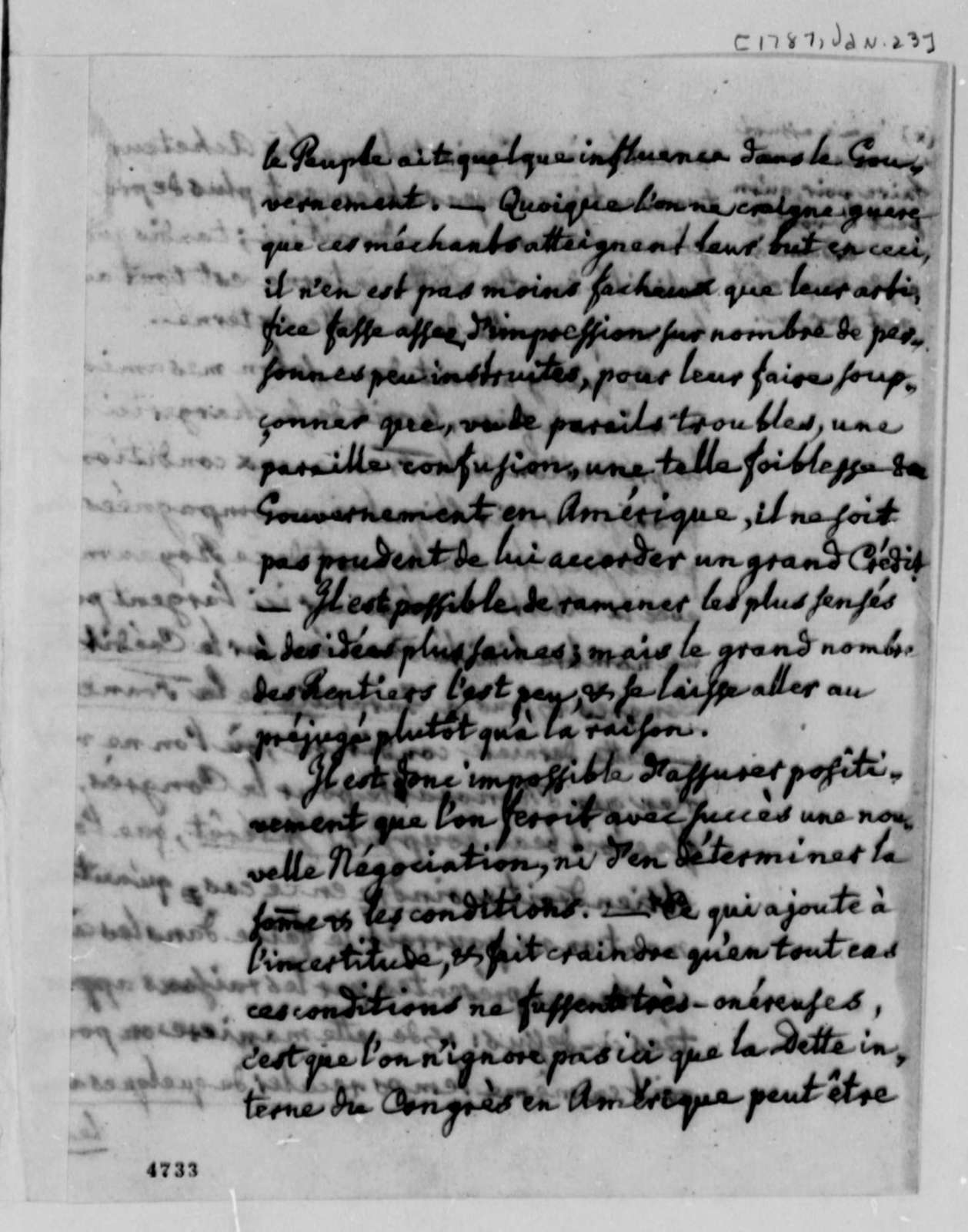 Charles William Frederic Dumas to Thomas Jefferson, January 23, 1787, in French