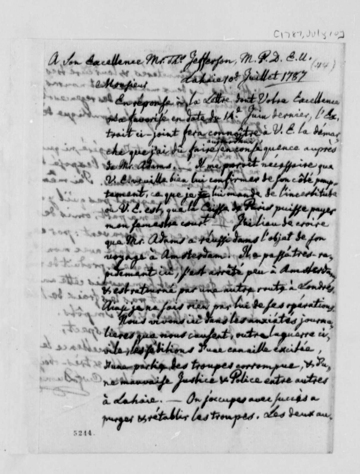 Charles William Frederic Dumas to Thomas Jefferson, July 10, 1787, in French