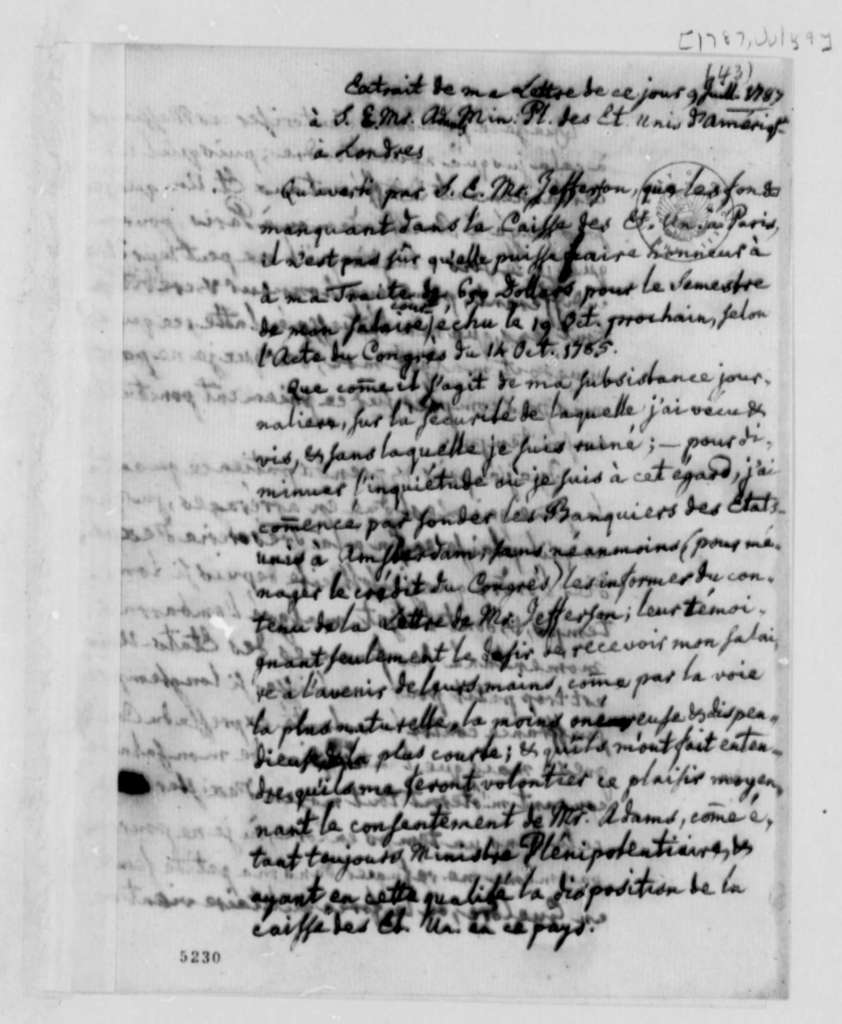 Charles William Frederic Dumas to Thomas Jefferson, July 9, 1787, Extract of Dumas' Letter to John Adams on Arrangements to Collect His Salary; in French
