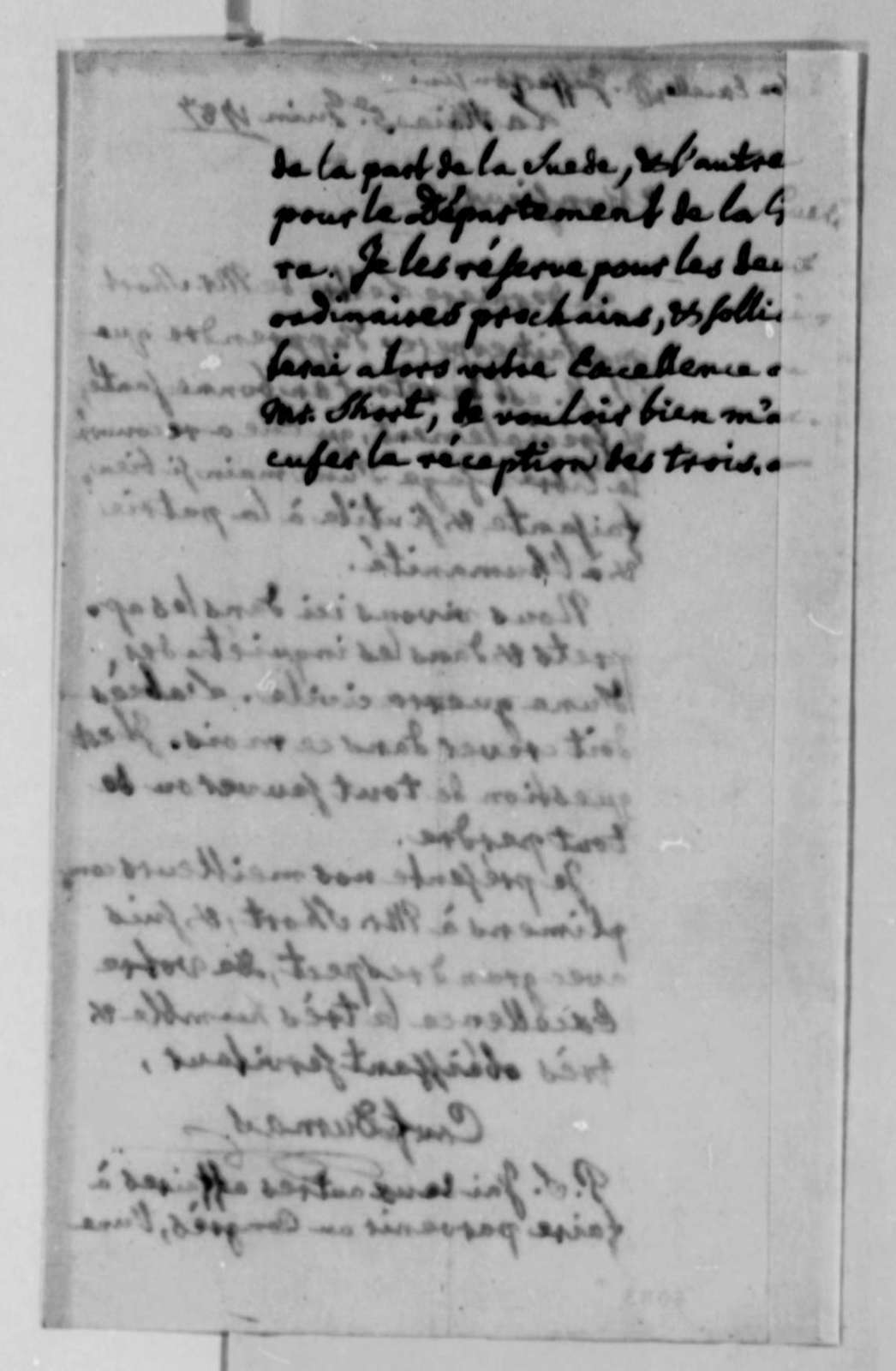 Charles William Frederic Dumas to Thomas Jefferson, June 5, 1787, in French