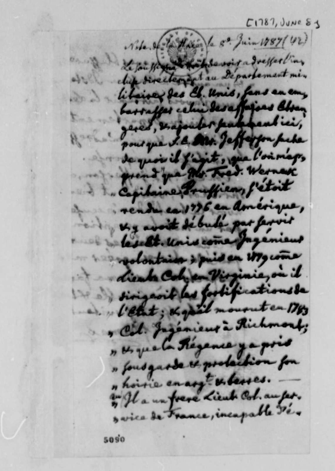 Charles William Frederic Dumas to Thomas Jefferson, June 8, 1787, in French