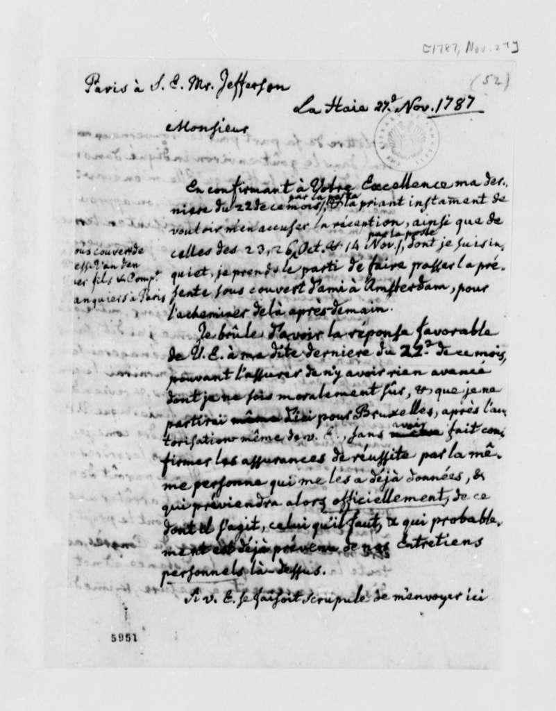 Charles William Frederic Dumas to Thomas Jefferson, November 27, 1787, in French