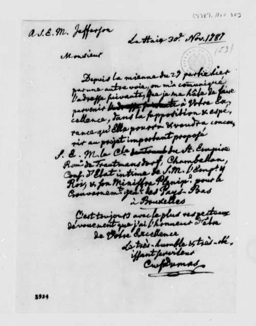 Charles William Frederic Dumas to Thomas Jefferson, November 30, 1787, in French