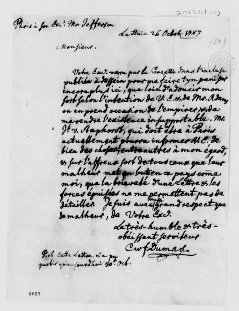 Charles William Frederic Dumas to Thomas Jefferson, October 26, 1787, in French